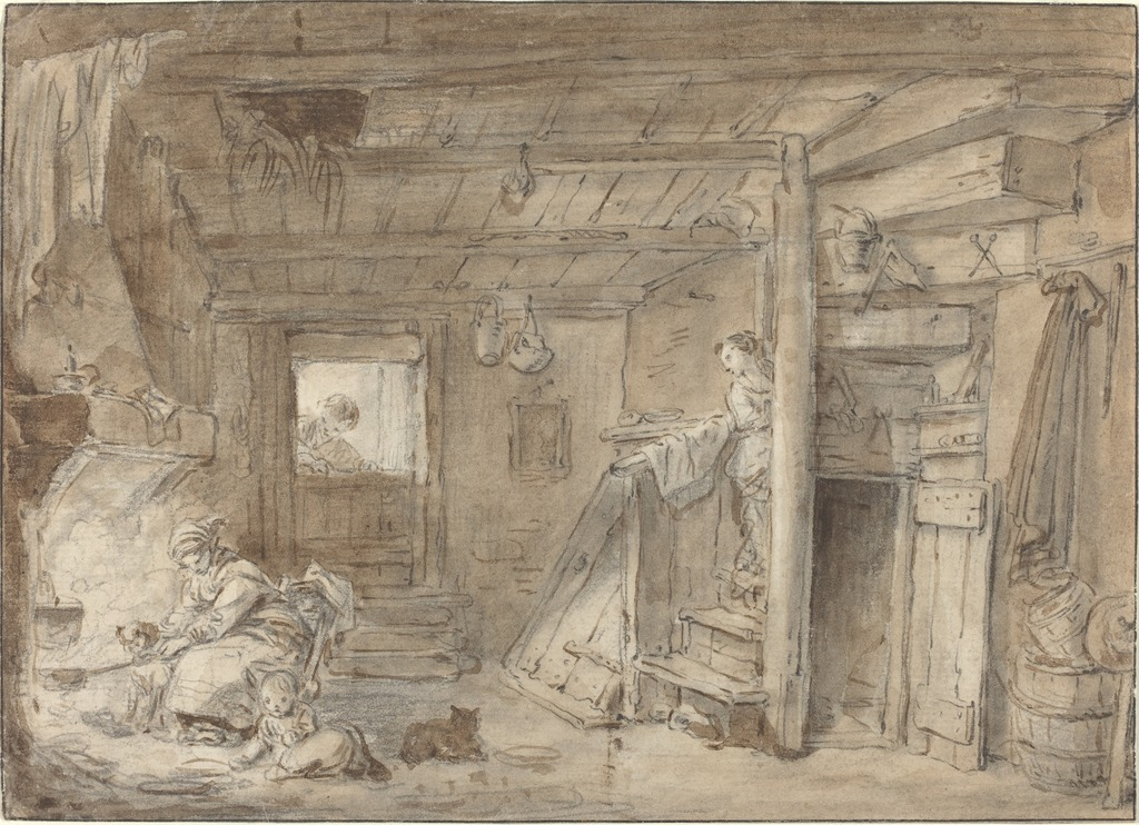 Attributed to hubert robert interior of a farmhouse with for 18th century farmhouse interiors