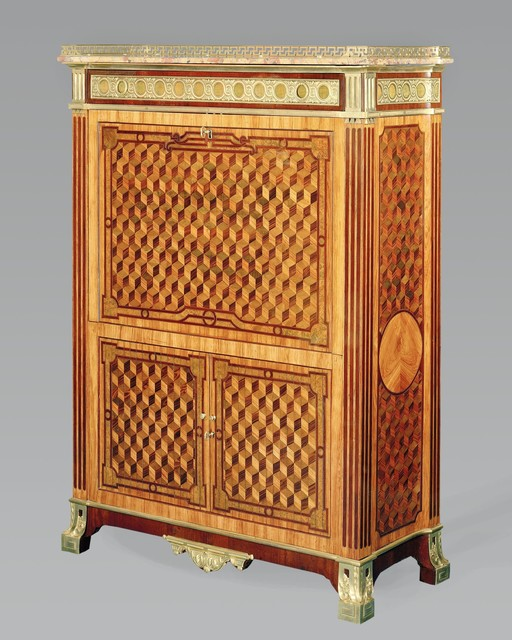 , 'A very rare Louis XVI marquetry upright secretary with chased, pierced and gilt bronze mounts.,' , Kraemer Gallery - Paris