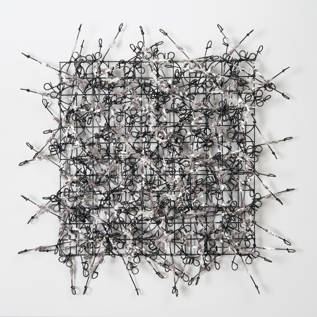 John Garrett, 'Circle Grid No. 5', 2015, Sculpture, Metal grid, painted rebar ties, fabric, stainless steel wire wraps, Duane Reed Gallery