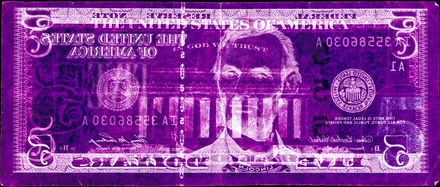 David LaChapelle, 'Negative Currency: Five Dollar Bill Used As Negative', 2008, Photography, Chromogenic print, Galerie Frank Pages