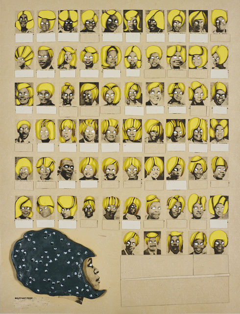 Ellen Gallagher, 'Bouffant Pride', 2003, Mixed Media, Photogravure with die-cuts, collage, paint, Plasticine, and toy eye additions, on rag paper, the full sheet., Phillips