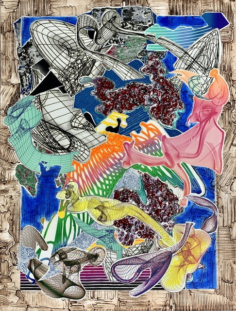 Frank Stella, 'Fanattia', 1995, Print, Etching, engraving, relief, lithograph, stamping, woodcut, mezzotint on white TGL handmade, hand-colored paper; metalized silver foil, Anders Wahlstedt Fine Art
