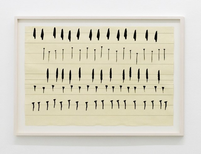 Carola Dertnig, 'Singing Nails III', 2019, Drawing, Collage or other Work on Paper, Collage and ink on handmade paper, Galerie Crone