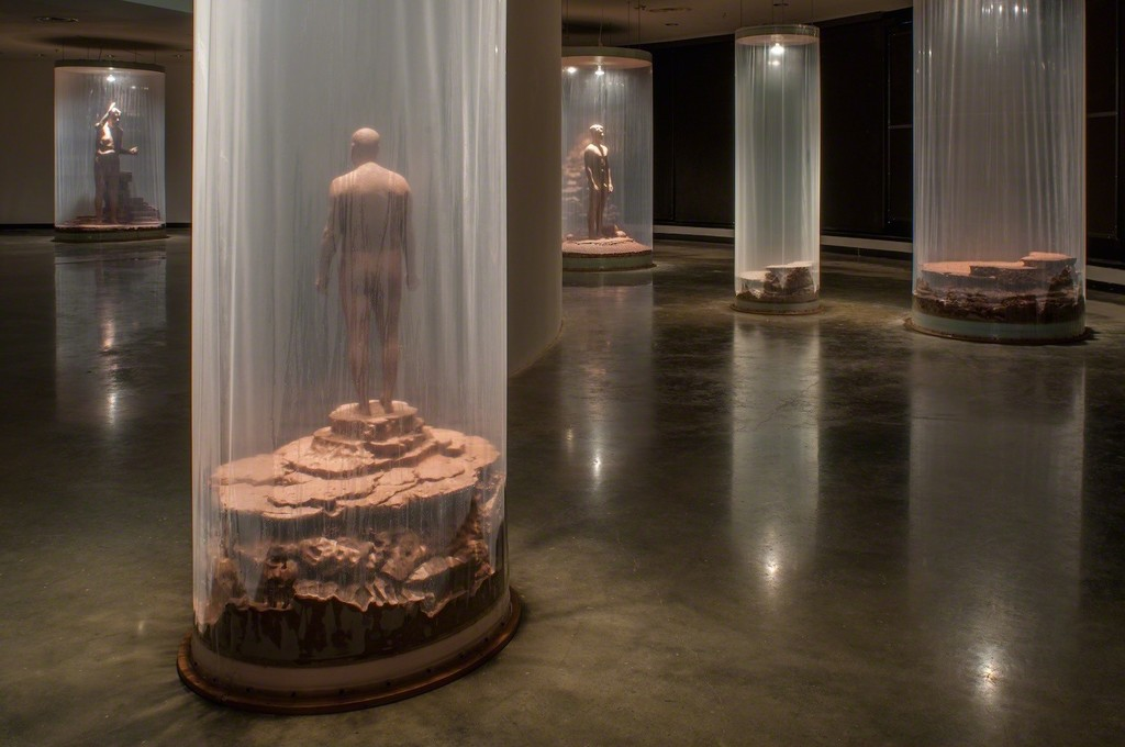 Walter McConnell monumental wet clay installation on view at the Katzen Arts Center.