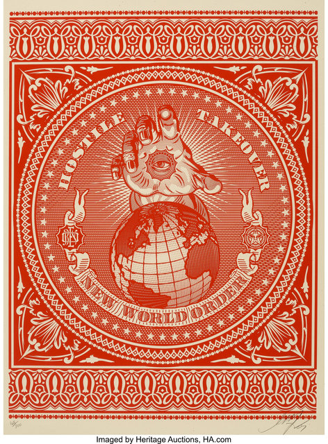 Shepard Fairey (OBEY), 'Hostile Takeover (Red and Black) (two works)', 2007, Heritage Auctions