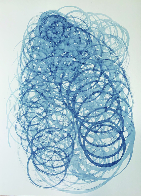 Masumi Sakagami, 'Sunsun 0423 BLUE (Ver. New York, NY)', 2019, Painting, Organic Pigment on Paper, Walter Wickiser Gallery