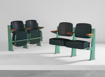Two pairs of lecture-hall chairs, designed for the Faculté de Lettres, Université de Besançon