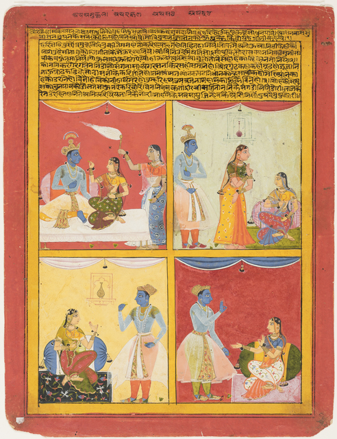 , 'Four types of lovers. Folio from a Rasikapriya (The Lover's Breviary),' 1630, Princeton University Art Museum