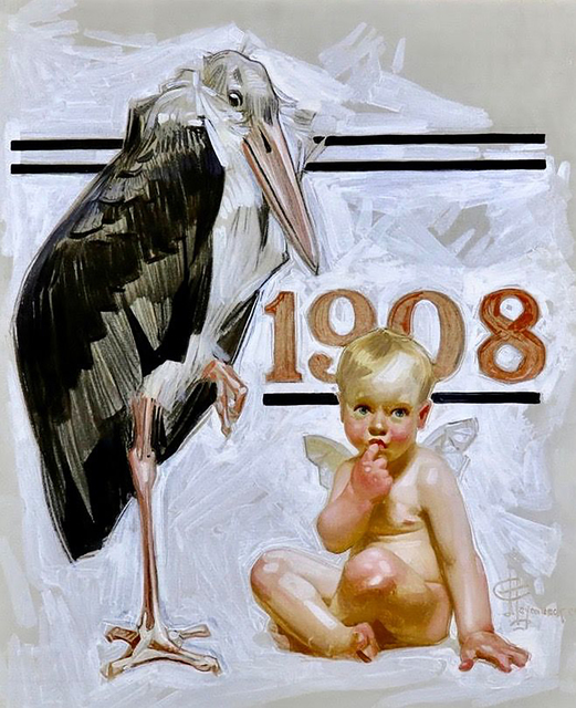 Joseph Christian Leyendecker, 'New Years Baby, Saturday Evening Post Cover, 1907', 1907, Painting, Oil Painting, The Illustrated Gallery