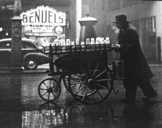 , 'London, Charing Cross Rd., (Man with milk cart,' 1936, Peter Fetterman Gallery