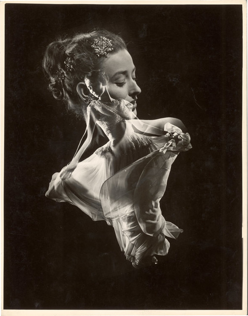 Gjon Mili, 'Double Exposure, Model with Swirling Evening Dress over Close up of Her Head with Faux Jewel Hair', 1946, Contessa Gallery