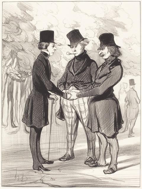 Honoré Daumier, 'Quelle heureuse rencontre!... C'est...', 1845, National Gallery of Art, Washington, D.C.