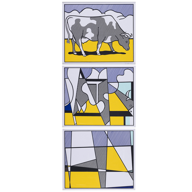 Roy Lichtenstein, 'Cow Going Abstract - Triptyque', 1982, Print, Suite of three screenprint in colors, PIASA