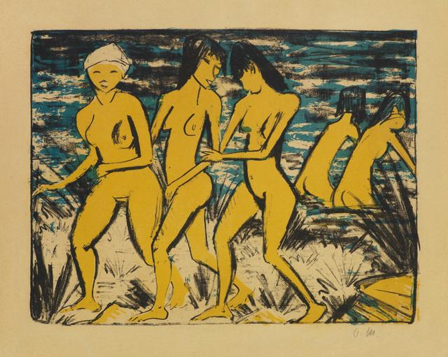 , 'FÜNF GELBE AKTE AM WASSER,' 1921, Jörg Maass Kunsthandel