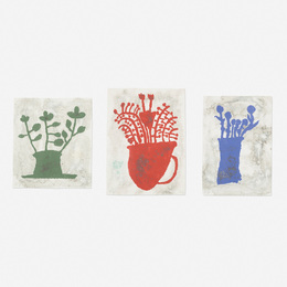 Donald Baechler, 'Green Plant, Blue Flowers and Pompeiian Flowers (three works),' 1997, Wright: Prints + Multiples (January 2017)