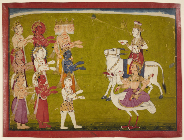 , 'Maheshvari on Nandi the Bull and Brahmani on Hanisa the Ostrich from the Devi Mahatmya,' 18th century, Princeton University Art Museum
