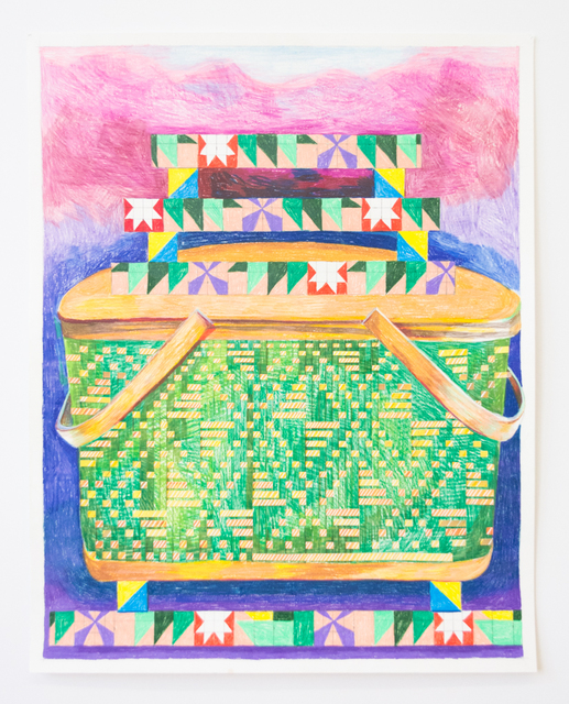 Carly Glovinski, 'Picnic Basket and Fire Quilt Stack', 2019, Morgan Lehman Gallery