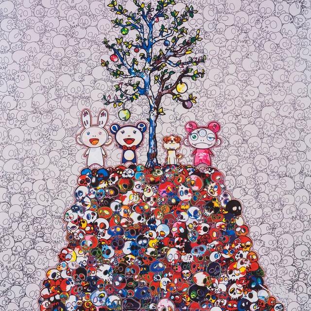 Takashi Murakami, 'Kaikai, Kiki, DOB, and POM atop the Mound of the Dead', 2013, Print, Offset print with silver, Pinto Gallery