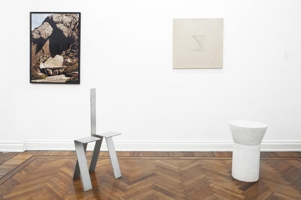 Eduardo Costa & Friends. Cosmocosa 2019. Scott Burton's photography of Rock Chair and Healing Chair Prototype (ca.1989). Eduardo Costa's Pocket Painting (ca.1987), and Painting of a Scott Burton's table (1995-1997).
