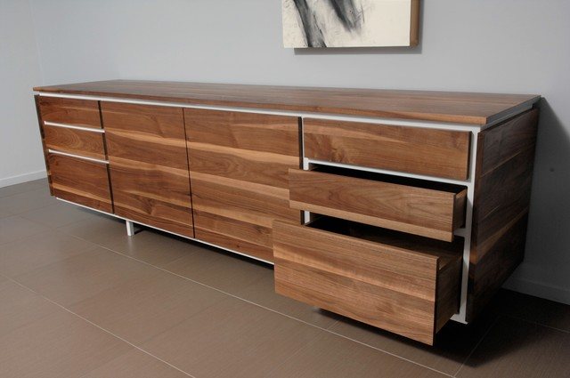 , 'Post Credenza, Claro Walnut, Gloss White,' , blankblank
