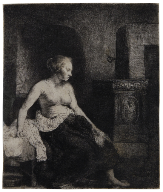 , 'Woman Sitting Half Dressed Beside a Stove,' 1658, David Tunick, Inc.