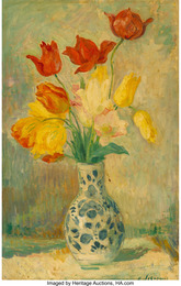 Tulips in a Delftware vase