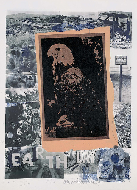Robert Rauschenberg, 'Earth Day', 1970, Drawing, Collage or other Work on Paper, 7-color lithograph collage, Evelyn Aimis Fine Art