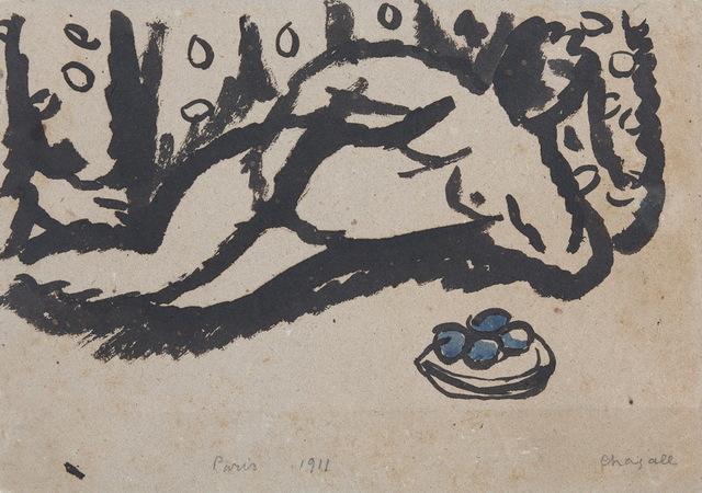 Marc Chagall, 'Nu allongé à la coupe de fruits', 1911, BAILLY GALLERY