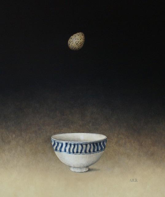 , 'Blue Striped Bowl with Falling Egg,' 2019, Quantum Contemporary Art