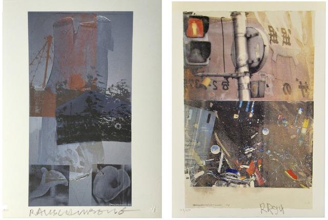 "Robert Rauschenberg, '2-PIECE SET- ""Bulkhead"" & ""Tanya's Veil"", 1993/94, SIGNED Editions, WFUNA, w/ United Nations COA ', 1992, Print, Lithograph on Coventry Rag Paper, VINCE fine arts/ephemera"