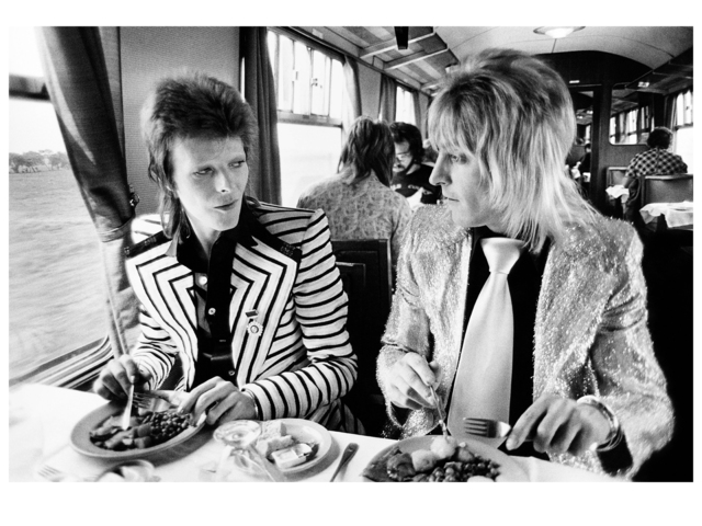 Mick Rock, 'David Bowie and Mick Ronson, Train to Aberdeen', 1973, Mouche Gallery