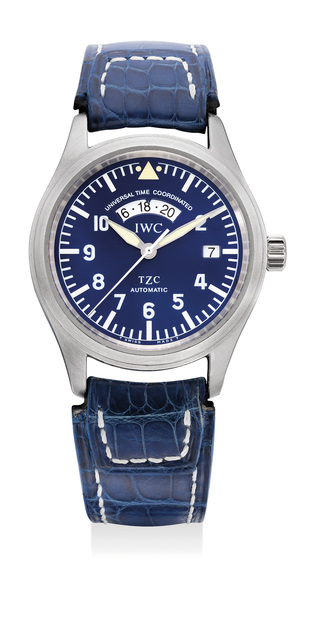 IWC, 'A very fine, rare and attractive platinum dual time wristwatch with center seconds, date, blue dial, guarantee and box, numbered 131 of a limited edition of 500 pieces', Circa 1998, Phillips