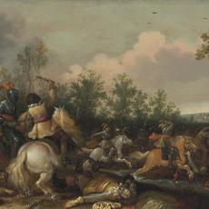 Jan Asselijn, 'A cavalry skirmish', Painting, Oil on panel, Christie's Old Masters