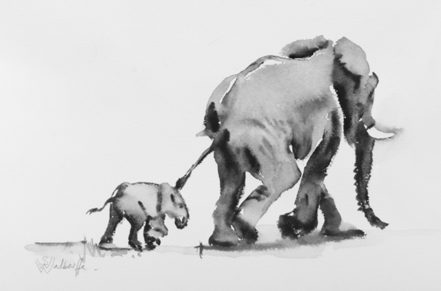 , 'Elephant with Calf ,' 2019, The Majlis Gallery