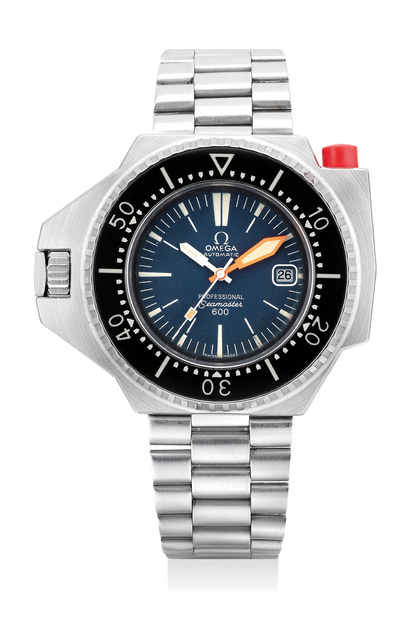 OMEGA, 'A highly rare and attractive stainless steel left-handed diver's wristwatch with date, locking rotating bezel and bracelet with  guarantee and tube presentation case', Circa 1972, Phillips