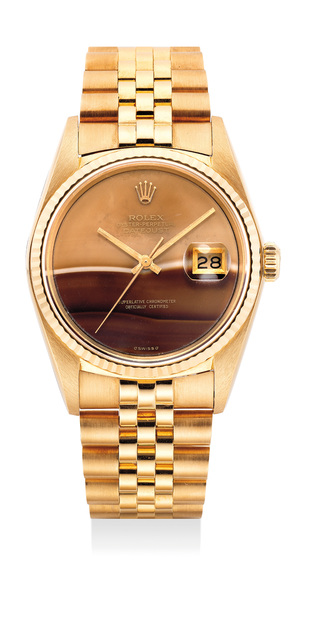 Rolex, 'A very fine and attractive yellow gold wristwatch with date, bracelet and hardstone dial', Circa 1985, Phillips