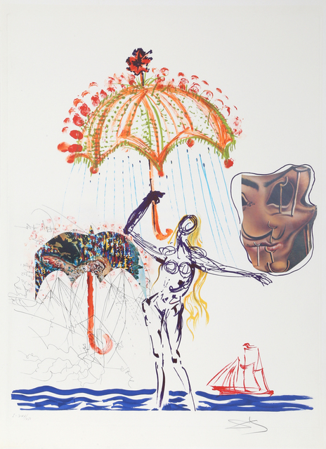 Salvador Dalí, 'Anti-Umbrella with Atomized Liquid', 1975-1976, Print, Lithograph with Collage on Arches, RoGallery