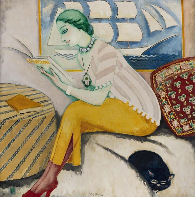 Kees van Dongen, 'La lecture ou Rabelais', Peint à Paris en 1911, Painting, Oil on canvas, Leclere