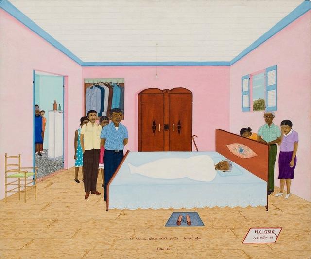 , 'La mort du célèbre artiste peintre Philomé Obin 5 aout 86'   ,' dated 1989, ZQ Art Gallery