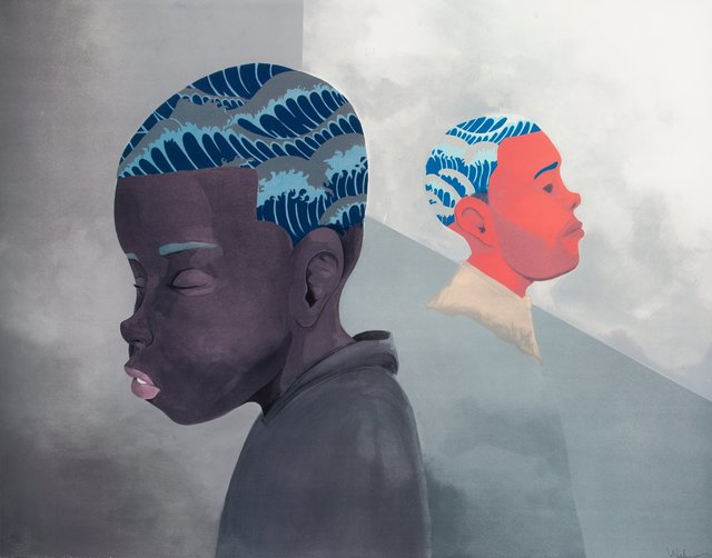 Hebru Brantley, 'Two Men Sporting Waves', 2019, Print, Lithograph in colors on BFK Rives paper, Heritage Auctions