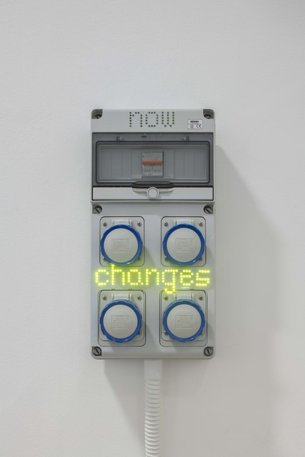 Hassan Khan, 'Sentences for a New Order: now changes', 2018, Installation, LED lights on Gewiss GW68003N electricity box, Galerie Chantal Crousel