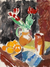 Nature morte with tulips and oranges