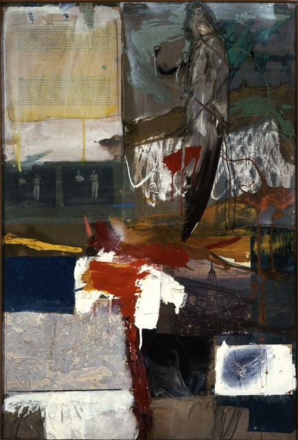 Robert Rauschenberg, 'Painting with Grey Wing', 1959, Mixed Media, Combine: oil, printed reproductions, unpainted paint-by-number board, typed print on paper, photographs, fabric, stuffed bird wing, and dime on canvas, Robert Rauschenberg Foundation