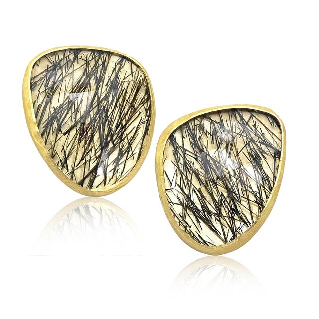 , 'Black Tourmaline Quartz Gold Wing Stud Earrings,' 2016, Szor Collections