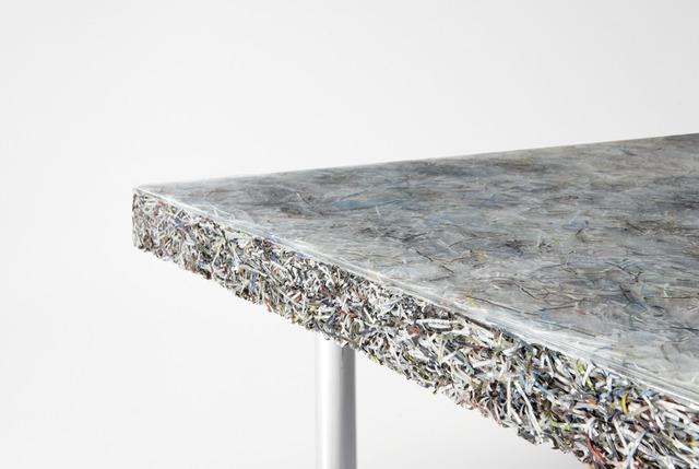 Jens Praet, 'Prototype 'Shredded' low table', 2014, Design/Decorative Art, Shredded paper (Art + Auction magazine leftovers), resin, aluminum, Sebastian + Barquet