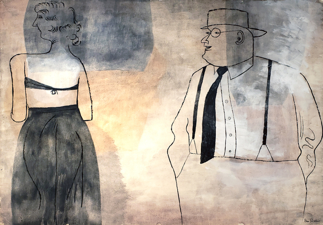 Ben Shahn, 'Suzanna and the Elders', 1948, Drawing, Collage or other Work on Paper, Ink and wash on paper, Robert Funk Fine Art