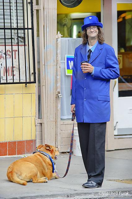 Mitchell Funk, 'Man in Excessively Long Blue Coat . Tenderloin San Francisco', 2008, Robert Funk Fine Art