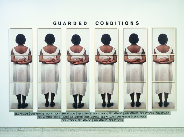 Lorna Simpson, 'Guarded Conditions', 1989, Mixed Media, 18 color Polaroid prints, 21 engraved plastic plaques, and plastic letters, Museum of Contemporary Art San Diego