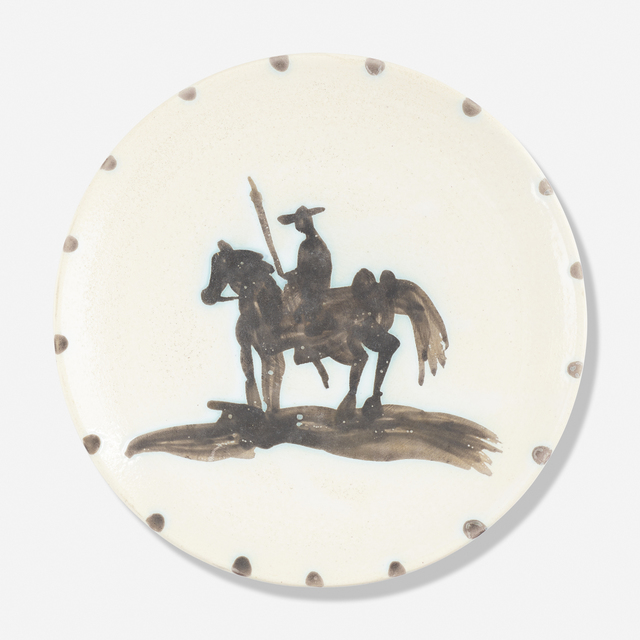 Pablo Picasso, 'Picador plate', 1952, Textile Arts, Glazed earthenware with oxidized paraffin decoration, Rago/Wright