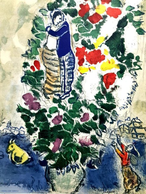 "Marc Chagall, 'Lithograph ""Lovers"" after Marc Chagall', 1965, Galerie Philia"